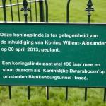 Deze koningslinde is ter gelegenheid van de inhuldiging van Koning Willem-Alexander op 30 april 2013, geplant